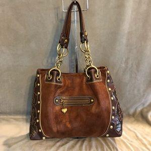 Kathy Van Zeeland Faux Suede Studded Handbag